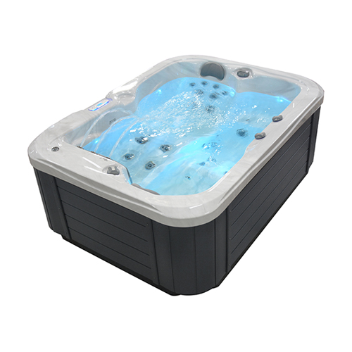 Side angle view of a filled Galaxy Spas Ceres spa pool